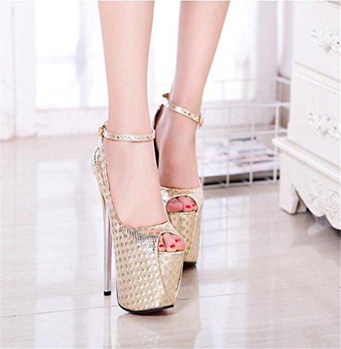 Sangle Taille de xie Plate Fête soirée femmes Talon forme club sandales EU40 GOLD Pompes Des pour Chaussures cheville et aiguille 41 à 35 7zT87x