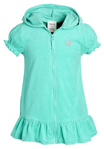 (Beach Coverups for Girls Swimsuit Cover Up Cotton Terry Hood Swim Robe Swimwear - Seafoam (Size 10/12))