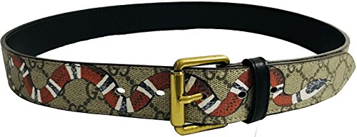 Fashion leather belt Snake pattern with Gold belt buckle 110-120 (Snake pattern Gold Buckle, 120) (Buckle Gold Snake)