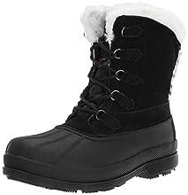 Propet Women's Lumi Tall Lace Snow Boot, Black/White, 10 4E US