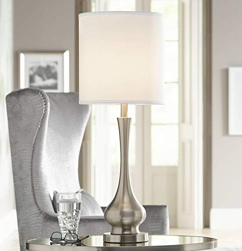 Modern Buffet Table Lamp Brushed Steel Tall Gourd White Drum Shade for Dining Room Bedroom Bedside - Possini Euro Design ()