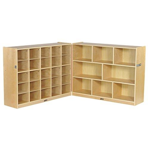 ECR4Kids Birch Fold & Lock Storage Cabinet with 8 Cubbies/25 Trays, 36''H, Natural by ECR4Kids