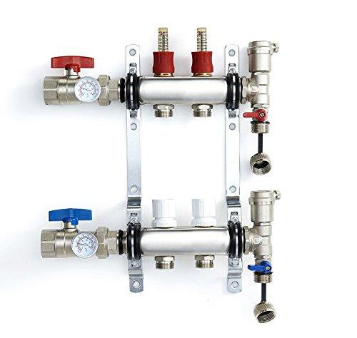 PEX Manifold Radiant Floor Heating Set 2 Loop System Stainless Steel Heated Hydronic Heating 1/2