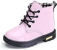 WYSBAOSHU Kids Waterproof Martin Boots Boys Girls Side Zipper Lace-Up Ankle Boots