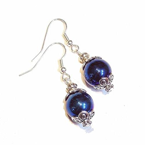 - Blue Hematite & Tibetan Silver-Tone Earrings