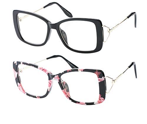 (SOOLALA Ladies Lightweight Large Frame Eyeglass Fashion Reading Glass, BkFloral, 1.5)
