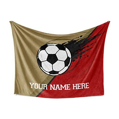 Soccer Team Theme Fleece Throw Blanket Plush Blankets for Women, Men, Kids, Toddlers, Babies, Bedroom Decor (50