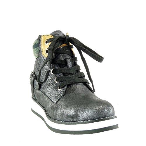 Montante Effet Angkorly Plateforme Talon 5 Femme Plateforme Mode Vieilli Compensé Baskets Chaussure cm Camouflage 3 Boucle Tréssé nnWXxt
