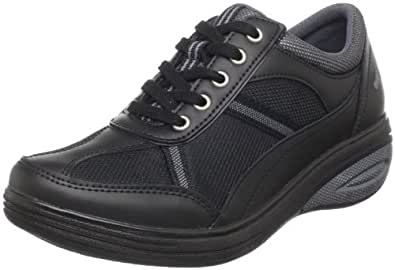 Grasshoppers Women's Get Fit Lace-Up Fashion Sneaker,Black,6.5 W US