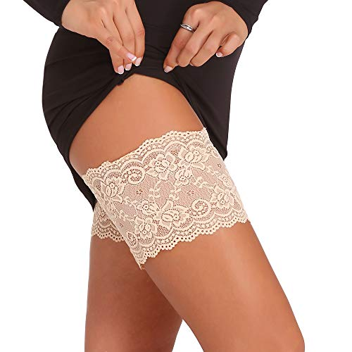 Amorbella Sexy Lace Thigh Band Elastic Anti-Chafing Prevent Thigh (Nude,Large)