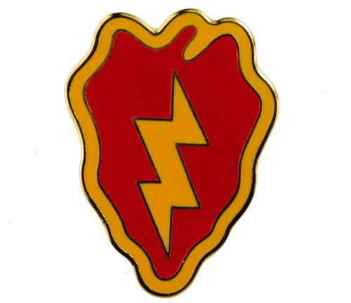 US Army 25th Infantry Division Tropic Lightning Electric Strawberry hat or lapel pin