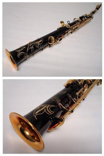Professional Black Gold Soprano Straight Saxophone Sax by OPUS USA