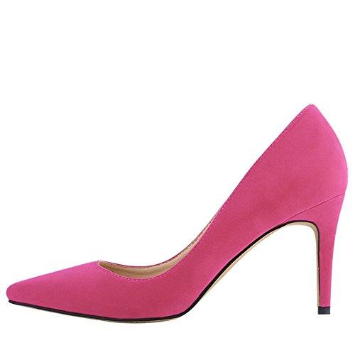 colores de multi con Mujer Resbalon tacon Zapatos clasico Red bombas en de OCHENTA Rose vestido las los xOnPP
