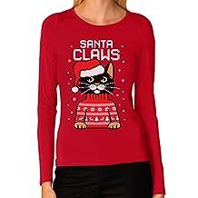 TeeStars - Santa Claws Cat Ugly Christmas Sweater Women Long Sleeve T-Shirt