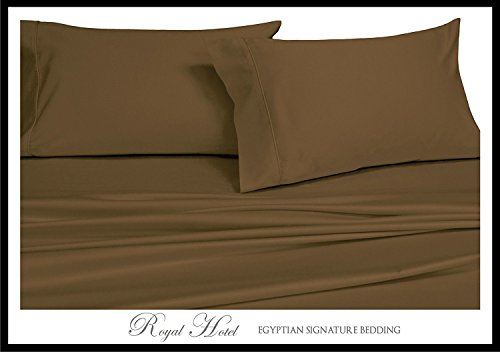 Royal Hotel's Solid Brown 600-Thread-Count 4pc California-King Bed Sheet Set 100-Percent Cotton, Sateen Solid, Deep Pocket - King Taupe Stripe