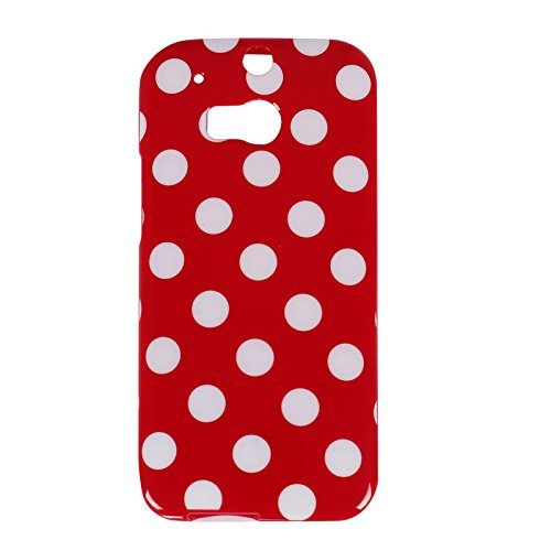 Mansion Premium Soft Flexible Polka Dot Rubber Skin TPU Case Gel Cover for HTC ONE M8 (Red, HTC ONE M8)