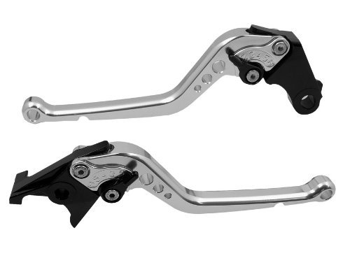 Pair Silver Adjustable Long CNC Motorcycle Brake Clutch Levers Fit for Honda VTX1300 2003 2004 2005 2006 2007 2008 (H-626/F-18)