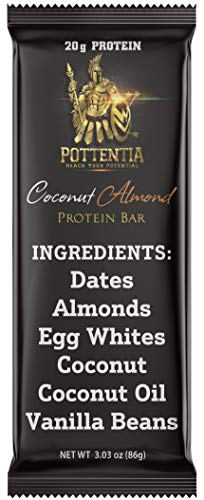 Pottentia Egg White Protein Bar, Coconut Almond, Six Natural Ingredients, 20g Protein, Eight Large 86g Bars, Whole Food, Paleo, Gluten Free