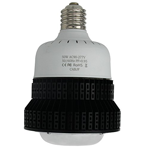 Uv Mercury Vapor Spot Lamp - NUOGUAN Mogul E39 Base 50W LED High Bay Bulb 5700K Daylight 6250 Lumens 175 Watt Metal Halide Replacement Commercial Retrofit Light for Warehouse Workshop Gym Farm