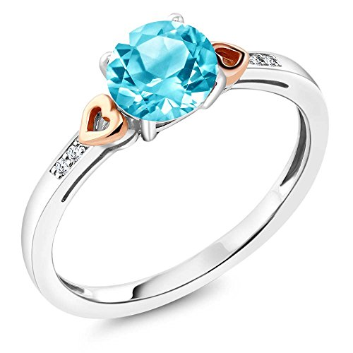 Accent Diamond Blue Ring (925 Sterling Silver and 10K Rose Gold Ring Round Swiss Blue Topaz with Diamond Accent (1.41 cttw, Available in size 5,6,7,8,9))