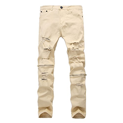 Men's Fashion Destroyed Elasticity Jeans Vintage Casual Stretch Slim Zipper Denim Pants With Holes (32W, White Khaki-2)
