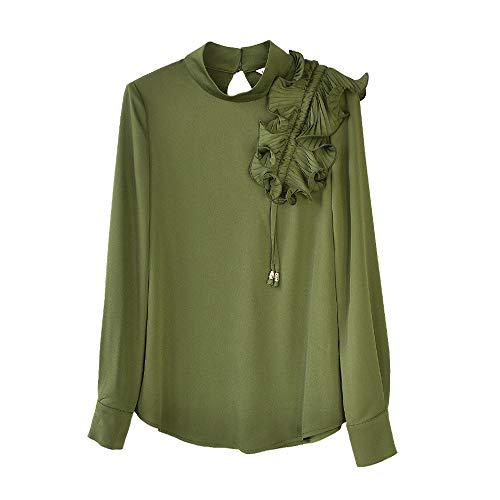 Dabuwawa Vintage Ruffles Casual Blouses Army Green Long Sleeve Office Lady Fashion Shirts Tops from Dabuwawa