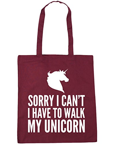 Tote Sorry Shopping x38cm 42cm I my HippoWarehouse Bag Beach I litres can't Burgundy to Gym have 10 walk unicorn z4vdqZx