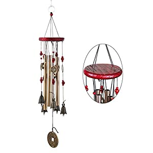 Sikiwind Wind Chimes - Chinese Style Copper Wind Chimes 4 Tubes 5 Bells for Yard Garden Outdoor Dining Room Decor
