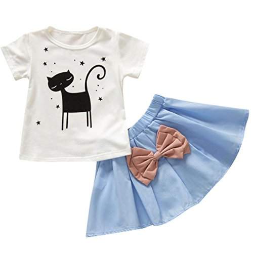G-real Top+Skirt, Baby Girl Kids Cartoon Kitty Star T-Shirt Blouse+Bowknot A Line Skirt Set (Blue, (Kitty Star)