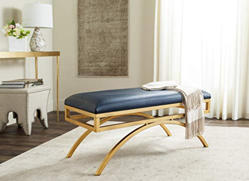 Safavieh Home Collection Navy Blue and Gold Moon Arc Bench