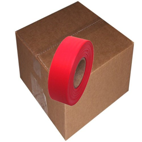 Flagging Tape 1-3/16 Non-Adhesive Plastic Ribbon, Red (Pack of 12) by Tape Brothers