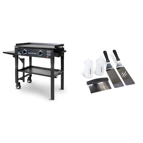 Blackstone 28 inch Outdoor Flat Top Gas Grill Griddle Station - 2-burner - Propane Fueled - Restaurant Grade - Professional Quality with Griddle Tool Kit