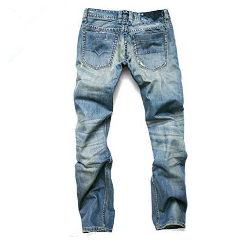 Uomo Retro Strappati Da Lichtblau Distrutti Dritti Estilo Pantaloni A Dritta Fit Gamba Slim Jeans Especial FxSBw5fw