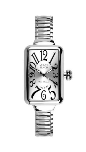 Glam Rock Art Deco Collection Women's Quartz Watch with Silver Dial Analogue Display and Silver Stainless Steel Bracelet 0.96.3002