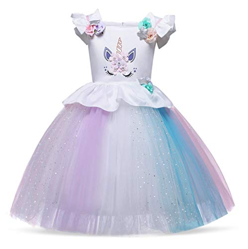 Cotrio Unicorn Costume Dress Girls Princess Tutu Dresses Pageant Party Evening Gowns Halloween Outfit Size 4T (110, 3-4Years, Rainbow White)