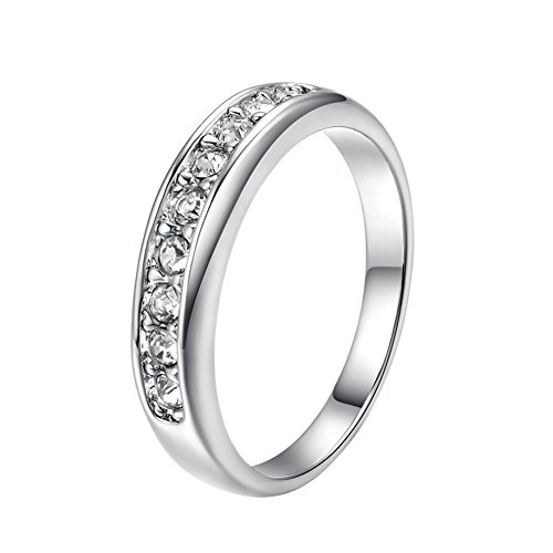 Yoursfs 18k White Gold Plated Engagement Rings Silver - 5