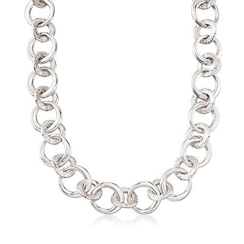 Ross-Simons Italian Sterling Silver Circle-Link Necklace - Sterling Silver Circle Link Necklace