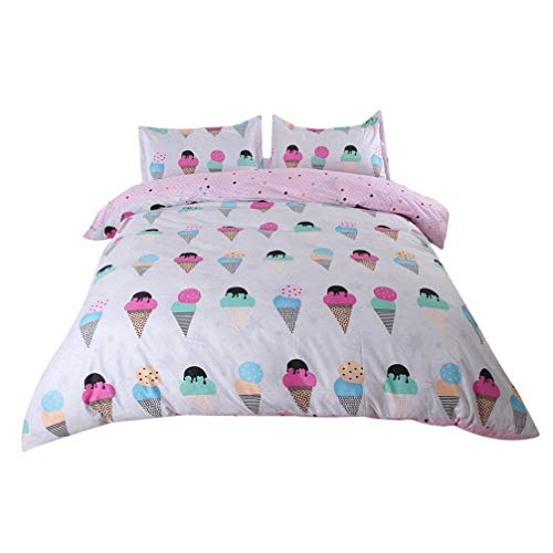 Sookie 3Pcs Cartoon Ice Cream Bedding (No Comforter and Sheet) Set for Kids Girls and Boys,Include Pink Duvet Cover +2 Pillowcases - Twin Size