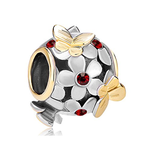 Butterfly Charm Red Crystal Flower 22K Gold/Silver Plated Bead Fits Pandora Bracelet