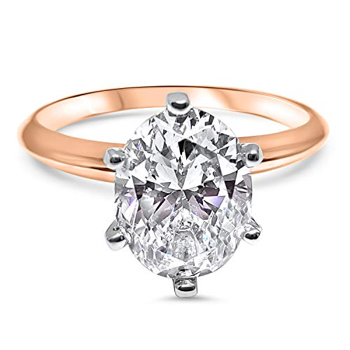 Eternal Jewelry Oval CZ Cubic Zirconia Engagement Ring 6 Prong 2 Carat 14K Rose Gold ((6)