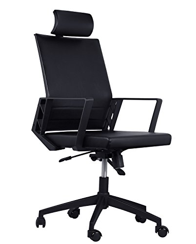 Office Desk Chair High Back Adjustable Swivel Chair Ergonomic Leather Executive Conference Task Chair with Armrest & Lumbar Support&Headrest,Comfortable Home Computer Rolling Chairs with Arms (Black) Review