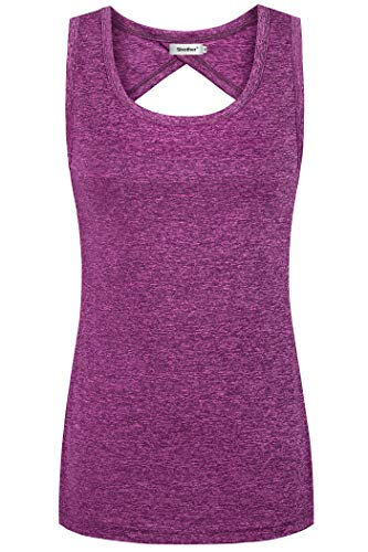 (Sixother Scoop Neck Shirt for Women, Cool Thin Comfort Zumba Tennis Physical Muscle Racerback Tanks Low Cut Split Back Plain High Low Bodycon Tunic Dress for Party Evening Night Club XL Purple)