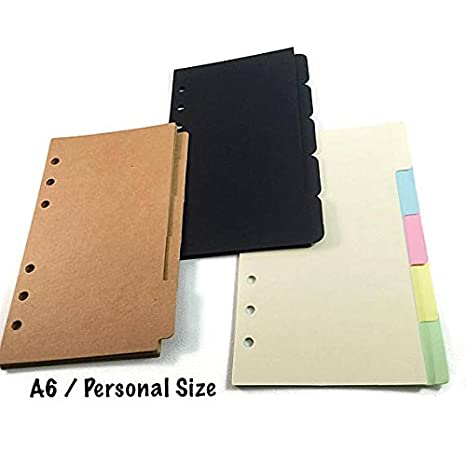 Amazon.com : A6 Size [Medium/Personal] Dividers with Tabs ...