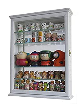 DisplayGifts Small Wall Mountable Curio Cabinet Shadow Box, with Glass Door, Mirrored Back, CD06 (Black)