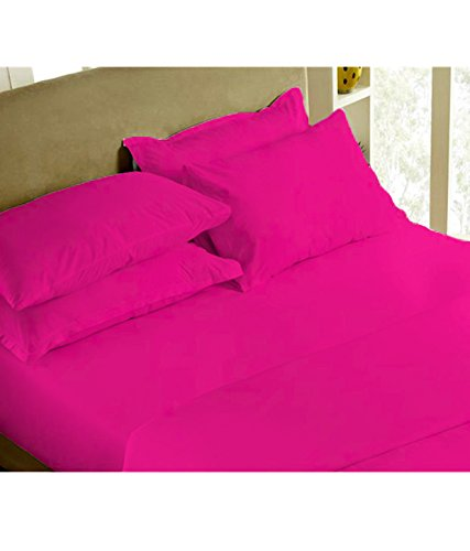 1800 Series Ultra-soft Prestige Collection Microfiber Solid 6PC Sheet Set (Queen, Hot Pink) - Double Brushed - Extra Deep Pocket - Stain Resistant, Warm, Breathable And Hypoallergenic