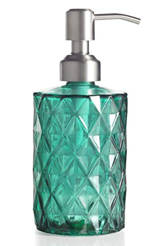 Easy Tang Soap Dispenser For Kitchen Bathroom Refillable Wash Hand Liquid Clear Glass Bottle Colored Jar With Stainless Steel Pump Ideal For Dish Detergent Essential Oil Shampoo Lotion Green