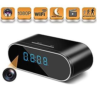 HOSUKU Hidden Spy Camera Wireless WiFi Hidden Camera 1080P Clock Hidden Cameras for Home Security Monitor Video Recorder Nanny Cam 140 Angle Night Vision Motion Detection No Audio