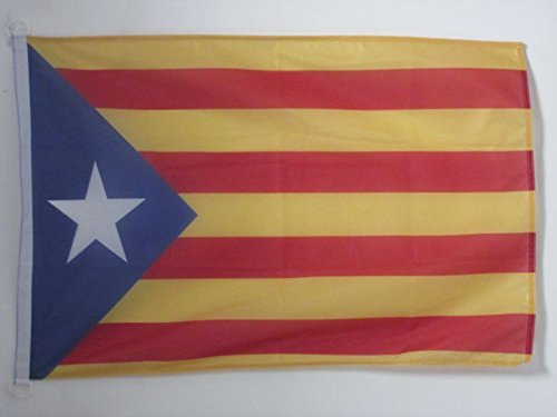 Catalan Flag (CATALONIA ESTELADA BLAVA FLAG 2' x 3' for outdoor - INDEPENDENTIST CATALAN FLAGS 90 x 60 cm - BANNER 2x3 ft Knitted Polyester with rings - AZ FLAG)