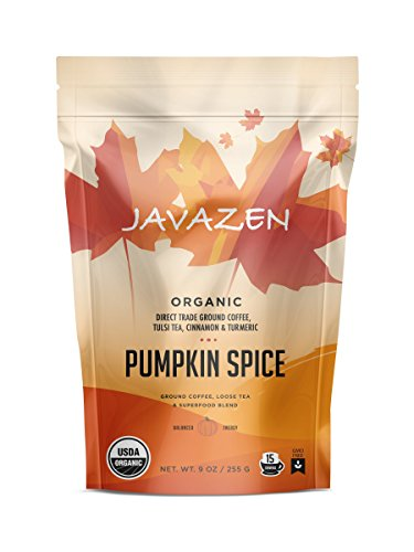 Javazen Pumpkin Spice | Organic Ground Coffee with Tulsi Tea, Turmeric, Cinnamon, Ginger, Cloves and Cardamom | USDA Certified Organic, Non-GMO, Kosher, 9oz (15 Servings)