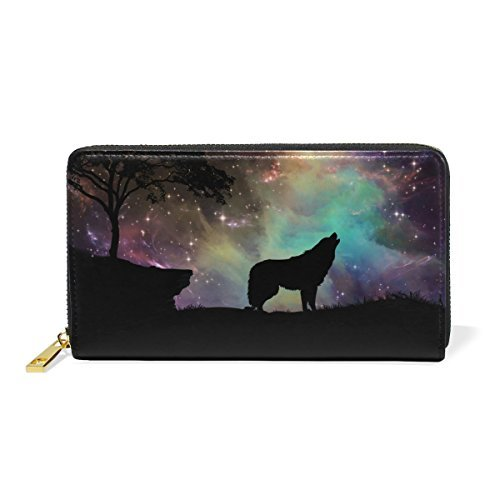 Galaxy Wolf Genuine Leather Girl Zipper Wallets Clutch Coin Phone for Women by FeiHuang